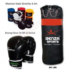 Heavy Bag, Boxing Glove & Hand Wrap