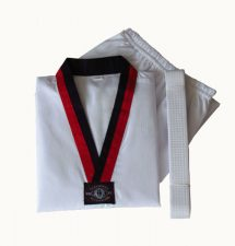 Poom Taekwondo Uniform RED/BLK Collar