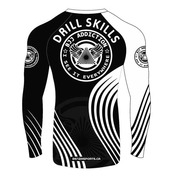 BJJ Rash Guard Long Sleeves BJJ Addiction Compression Top BLK/WHT