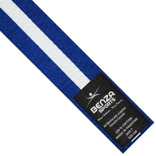Blue with white stripe belt