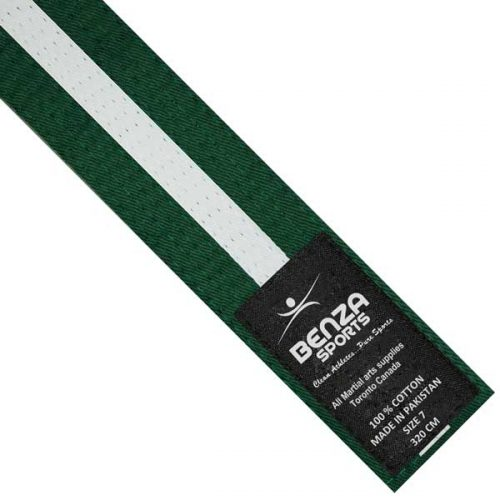Green with white stripe belt