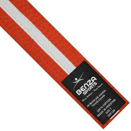 Orange with white stripe belt