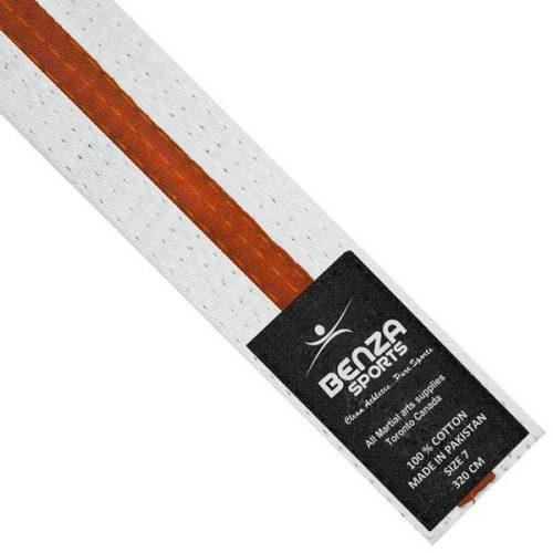 Karate Taekwondo White with orange Stripe Belts