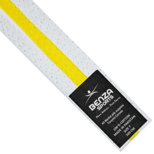 Karate Taekwondo White with yellow Stripe Belts