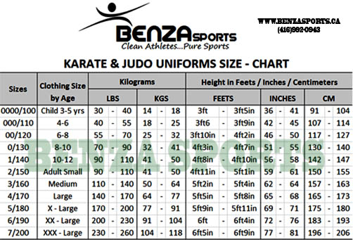 Medium & Heavy Weight Karate Gi Size Chart